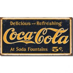 Coke 1910 Logo Weathered Metal Tin Sign