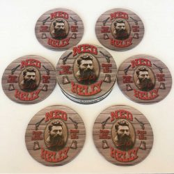 6 Ned Kelly Coasters With Cork Backing Kidscollections