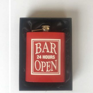 Bar Open 24 Hours Hip Flask