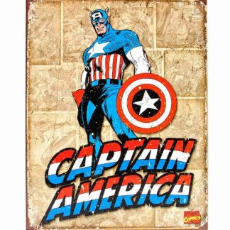 Captain America Retro Panels Metal Tin Sign