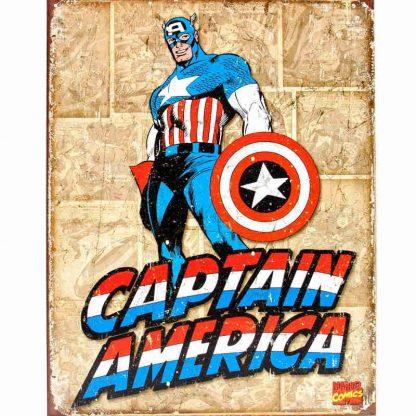 Captain America Retro Panels Metal Tin Sign