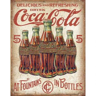 Coke 5 Bottles Retro Metal Tin Sign