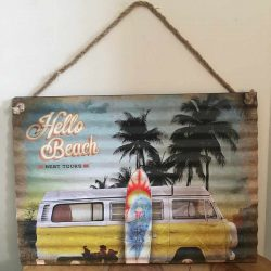 Combi Van Sign Hello Beach