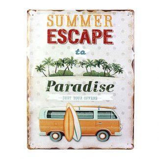 Combi Van Iron Sign Summer Escape