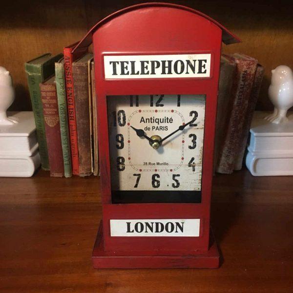Metal London Telephone Clock