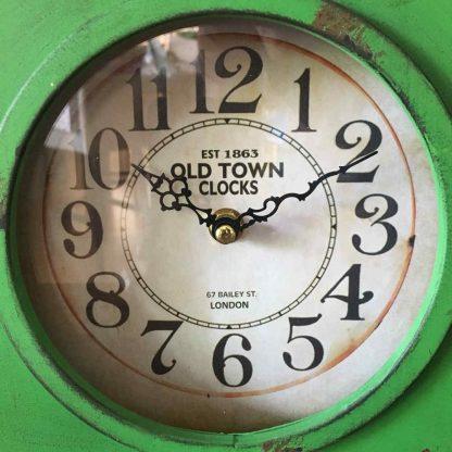 Old Town Green Metal Clock