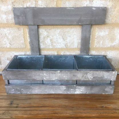 Rustic Wooden Planter including 3 Sections