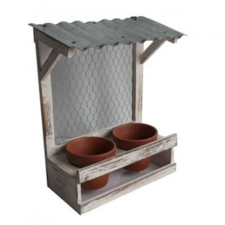Rustic Wooden Planter with Tin Roof