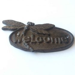 Dragonfly Cast Iron Welcome Plate