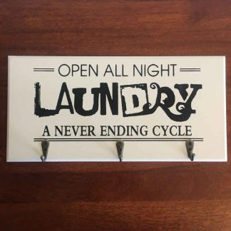 Open All Night Laundry Wooden Rack