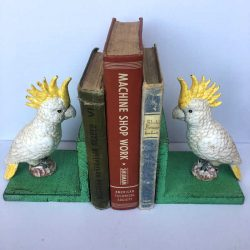 Cast Iron Cockatoo Bird Bookends