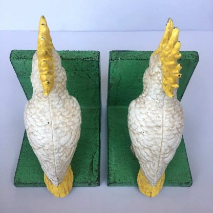 Cast Iron Cockatoo Bird Bookends