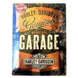 Harley Davidson Garage Metallic Embossed Sign