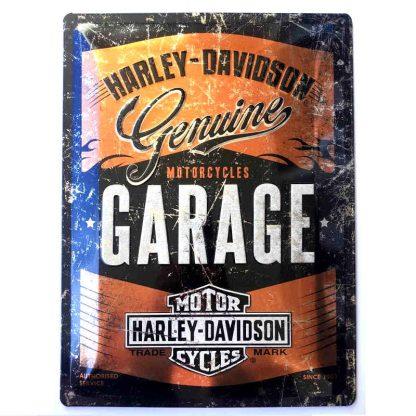 Harley Davidson Garage Metallic Embossed Sign