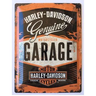 Harley Davidson Garage Embossed Tin Sign