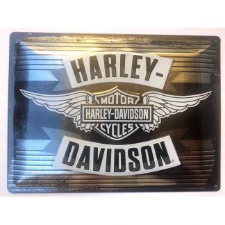 Harley Davidson Silver Wings Embossed Sign