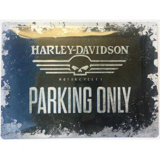 Harley Davidson Skull Parking Only Embossed Sign