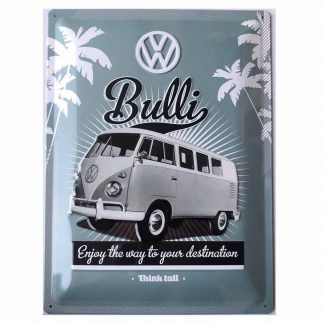 VW Bulli Think Tall Embossed Sign