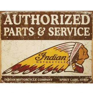 Authorized Indian Parts & Service Tin Sign