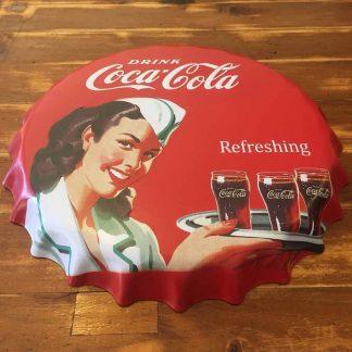 Coke Embossed Beer Bottle Cap Sign