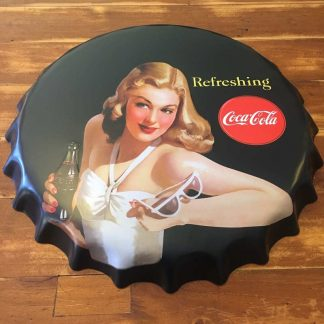 Large Coca Cola Coke Pinup Embossed Beer Bottle Cap Wall Tin Plaque Sign 40cm