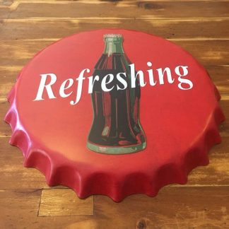 Coke Refreshing Embossed Beer Bottle Cap Sign