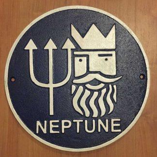 Blue Cast Iron Round Neptune Sign