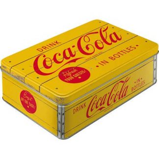 Coca Cola Embossed Flat Tin Yellow Red