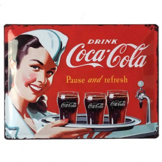 Coke 1960 red white waitress Embossed Tin Sign