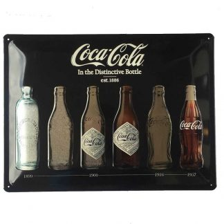 Coke Timeline Black Metallic Embossed Tin Sign