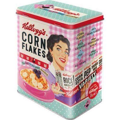 Kelloggs Happy Hostess Corn Flakes Embossed Large Tin