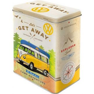 VW Bulli Lets Get Away Embossed Large Tin