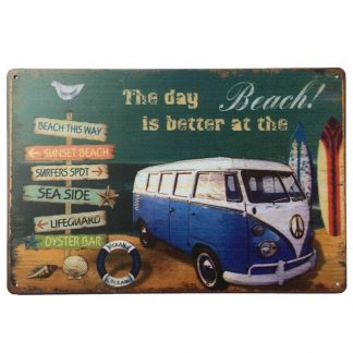 VW Combi Beach Tin Sign