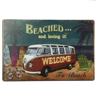 VW Combi Beached Tin Sign