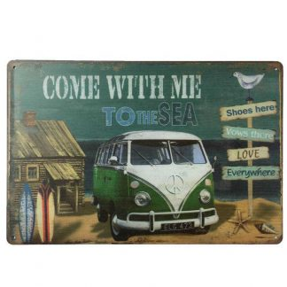 VW Combi Green Tin Sign