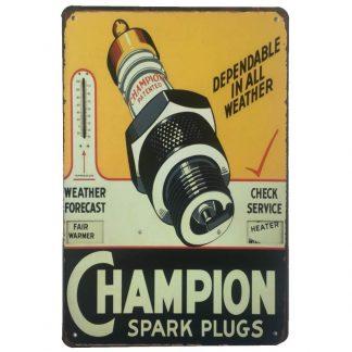 Champion Spark Plugs Metal Tin Sign