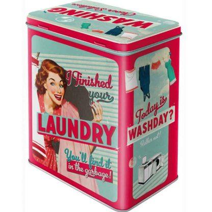 Laundry Embossed Large Tin