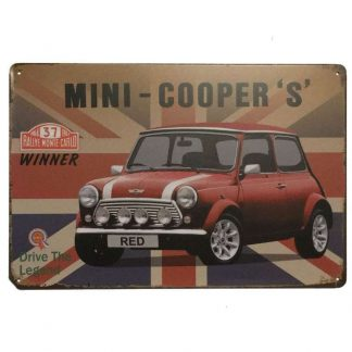 Red Mini Cooper S Tin Sign