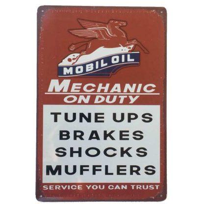 Mobiloil Mechanic on Duty Tin Sign