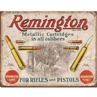 Remington For Rifles & Pistols Tin Sign