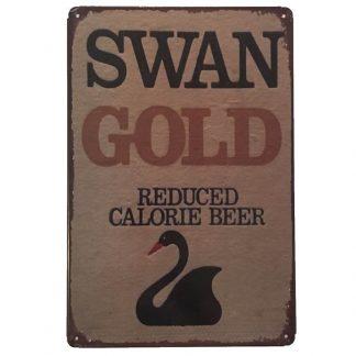 Swan Gold Tin Sign