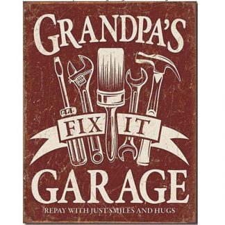 Grandpas Garage Tin Sign