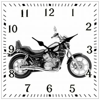 Victory Motorbike Square Glass Clock