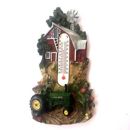 John Deere Farm Scene Thermometer